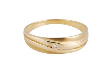 Zlatý Prsten Soliter 224 00808 00, materiál žluté zlato 585/1000, 1x briliant = 0.032 ct, váha: 1.45