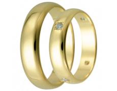 Snubní prsteny kolekce HARMONY29-30, materiál žluté zlato 585/1000, zirkon, váha: u velikosti 54mm -