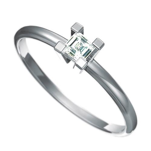 Zásnubní prsten Dianka 801, materiál bílé zlato 585/1000, zirkon 3x3mm, váha: u velikosti 54mm - 1.3
