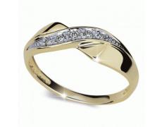 Briliantový prsten Danfil DF1915Z, materiál žluté zlato 585/1000, 5x briliant SI1/G = 0.072 ct, váha