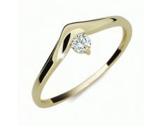 Briliantový prsten Danfil DF2016Z, materiál žluté zlato 585/1000, 1x briliant SI1/G = 0.086 ct, váha