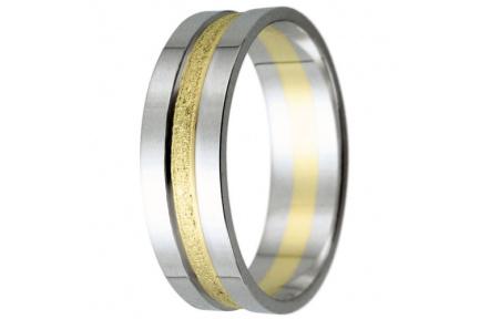 Snubní prsteny kolekce HARMONY18, materiál bílé, žluté zlato 585/1000, váha: u velikosti 54mm - 4.30