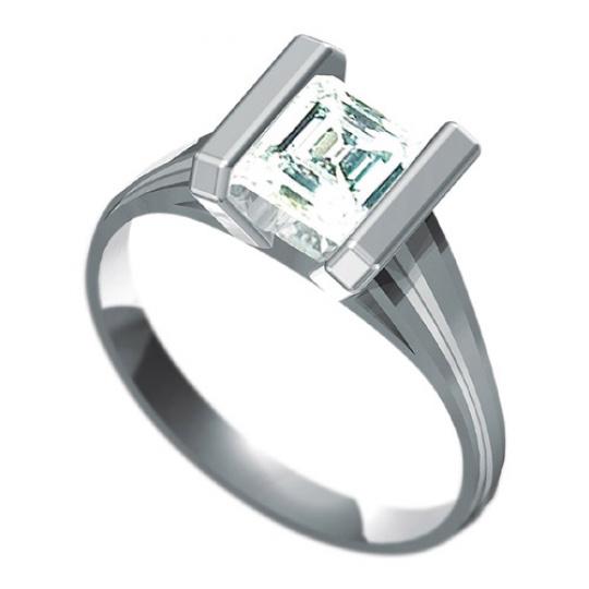 Zásnubní prsten Dianka 820, materiál bílé zlato 585/1000, zirkon roháček 6x6mm, váha: u velikosti 54