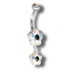 Piercing s krystaly Swarovski Flower02 I