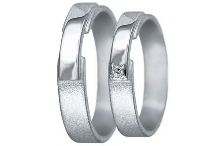 Snubní prsteny kolekce U3, materiál bílé zlato 585/1000, zirkon , váha: u velikosti 54mm - 3.50g