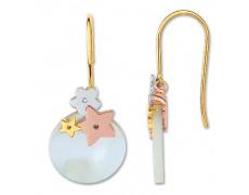 Zlaté náušnice Cacharel XD301TN2, materiál žluté, růžové a bílé zlato 585/1000, perleť, váha: 2.35g
