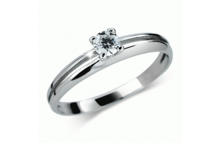 Briliantový prsten Danfil DF1272, materiál bílé zlato 585/1000, 1x briliant SI1/G = 0.168 ct, váha:
