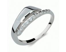 Briliantový prsten Danfil DF2048, materiál bílé zlato 585/1000, 10x briliant SI1/G = 0.100 ct, váha: