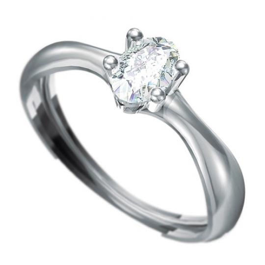 Zásnubní prsten Dianka 808, materiál bílé zlato 585/1000, zirkon ovál 6x4mm, váha: u velikosti 54mm