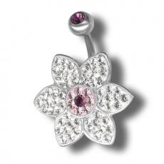 Piercing s krystaly Swarovski Flower07 A
