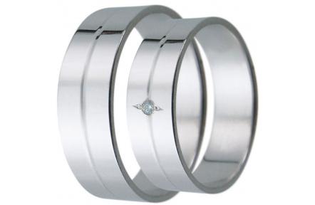Snubní prsteny kolekce D2, materiál bílé zlato 585/1000, zirkon , váha: u velikosti 54mm - 4.30g