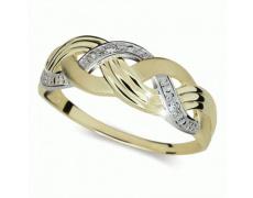 Briliantový prsten Danfil DF1848Z, materiál žluté, bílé zlato 585/1000, 3x briliant SI1/G = 0.038 ct