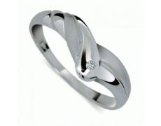 Briliantový prsten Danfil DF1841, materiál bílé zlato 585/1000, 1x briliant SI1/G = 0.011 ct, váha: