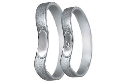 Snubní prsteny kolekce U4, materiál bílé zlato 585/1000, zirkon , váha: u velikosti 54mm - 2.40g