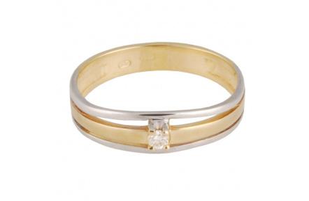 Zlatý Prsten Soliter 224 00868 10, materiál žluté, bílé zlato 585/1000, 1x briliant = 0.032 ct, váha