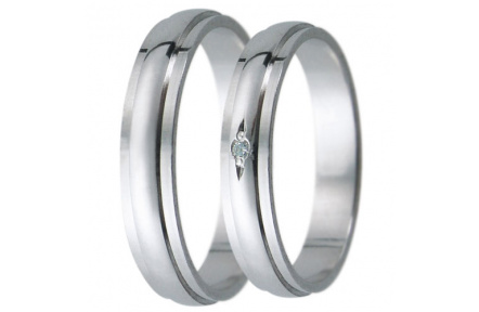 Snubní prsteny kolekce D22, materiál bílé zlato 585/1000, zirkon , váha: u velikosti 54mm - 3.00g