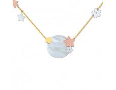 Zlatý náhrdelník Cacharel XD501TN2, materiál žluté, růžové a bílé zlato 585/1000, perleť, váha: 5.00