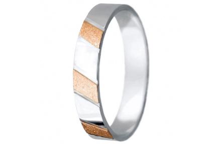 Snubní prsteny kolekce VIOLA_9, materiál červené, bílé zlato 585/1000, váha: u velikosti 54mm - 2.95