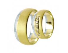 Snubní prsteny Lucie Gold Charlotte S-173, materiál bílé, žluté zlato 585/1000, zirkon, váha: průměr