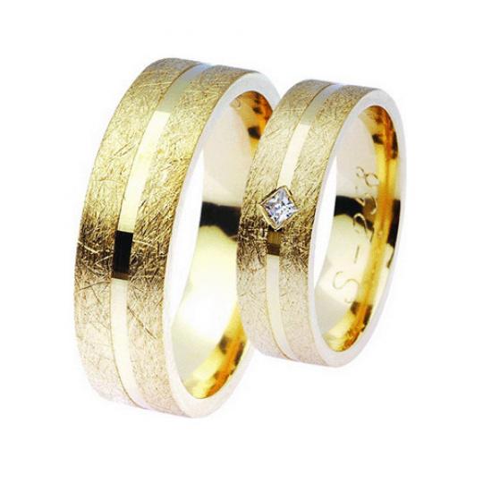 Snubní prsteny Lucie Gold Charlotte S-258, materiál žluté zlato 585/1000, zirkon, váha: průměrná 12.