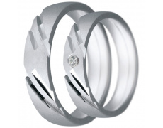 Snubní prsteny kolekce CLAUDIA15, materiál bílé zlato 585/1000, zirkon, váha: u velikosti 54mm - 7.6