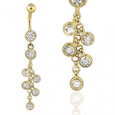 Zlatý piercing ZPP041, materiál 14-ti karátové žluté zlato, zirkon, váha: 1.69g