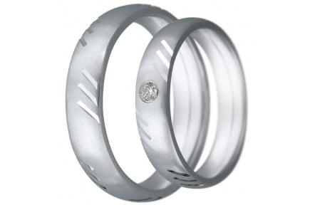 Snubní prsteny kolekce CLAUDIA8, materiál bílé zlato 585/1000, zirkon, váha: u velikosti 54mm - 7.60