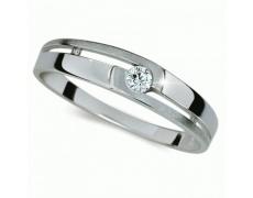 Briliantový prsten Danfil DF1793, materiál bílé zlato 585/1000, 1x briliant SI1/G = 0.065 ct, váha: