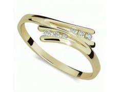 Briliantový prsten Danfil DF1950Z, materiál žluté zlato 585/1000, 6x briliant SI1/G = 0.075 ct, váha