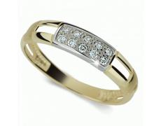 Briliantový prsten Danfil DF2033Z, materiál žluté zlato 585/1000, 10x briliant SI1/G = 0.100 ct, váh