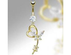 Zlatý piercing ZPP006, materiál 14-ti karátové žluté zlato, zirkon, váha: 1.73g