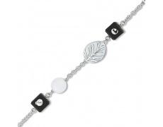 Stříbrný náramek Cacharel CWB132NM9, materiál stříbro 925/1000, dřevo, perleť, váha: 3.40g