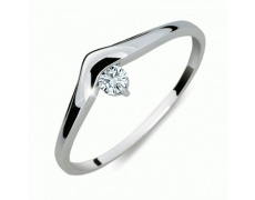Briliantový prsten Danfil DF2016, materiál bílé zlato 585/1000, 1x briliant SI1/G = 0.086 ct, váha: