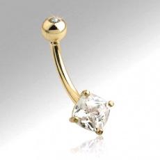Zlatý piercing ZPP015, materiál 14-ti karátové žluté zlato, zirkon, váha: 1.07g