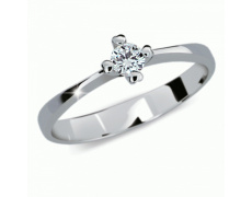 Briliantový prsten Danfil DF2089, materiál bílé zlato 585/1000, 1x briliant SI1/G = 0.168 ct, váha:
