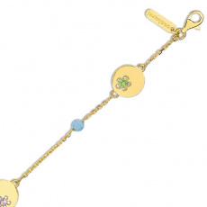 Zlatý náramek Cacharel XG605JV, materiál žluté zlato 585/1000, ametyst, topaz, peridot, váha: 5.20g
