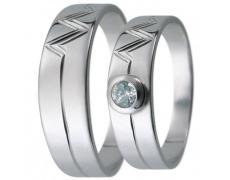 Snubní prsteny kolekce D13, materiál bílé zlato 585/1000, zirkon , váha: u velikosti 54mm - 4.30g