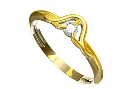Zásnubní prsten s briliantem Leonka  005, materiál žluté zlato  585/1000, briliant SI1/G - 3.00mm, v