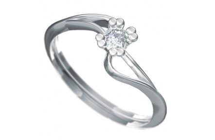 Zásnubní prsten Dianka 804, materiál bílé zlato 585/1000, zirkon 3.5mm, váha: u velikosti 54mm - 1.4