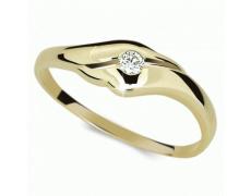 Briliantový prsten Danfil DF1838Z, materiál žluté zlato 585/1000, 1x briliant SI1/G = 0.065 ct, váha