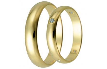 Snubní prsteny kolekce HARMONY26-27, materiál žluté zlato 585/1000, zirkon, váha: u velikosti 54mm -