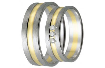 Snubní prsteny kolekce HARMONY21, materiál bílé, žluté zlato 585/1000, zirkon, váha: u velikosti 54m