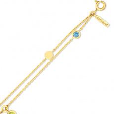 Zlatý náramek Cacharel XC626JV, materiál žluté zlato 585/1000, ametyst, topaz, peridot, váha: 4.40g