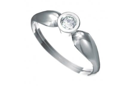 Zásnubní prsten s briliantem Dianka 806, materiál bílé zlato 585/1000, briliant SI1/G 4.00mm, váha: