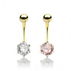Zlatý piercing ZPP029, materiál 14-ti karátové žluté zlato, zirkon, váha: 1.23g