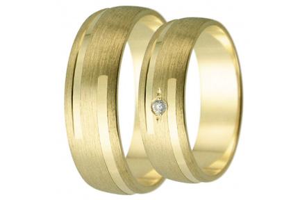 Snubní prsteny kolekce HARMONY24, materiál žluté zlato 585/1000, zirkon, váha: u velikosti 54mm - 5.
