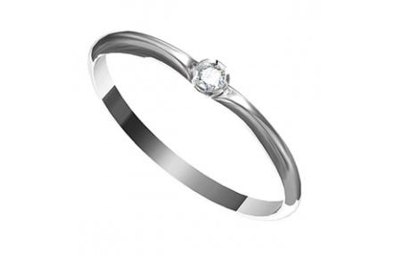 Zásnubní prsten s briliantem Leonka 001, materiál bílé zlato 585/1000, briliant SI1/G - 2.25 mm, váh