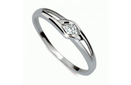Briliantový prsten Danfil DF1633, materiál bílé zlato 585/1000, 1x briliant SI1/G = 0.075 ct, váha: